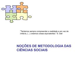 noções de metodologia das ciências sociais