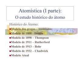 Atomística (I parte): O estudo histórico do átomo