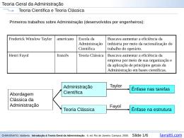 Administração Científica/Teoria Clássica