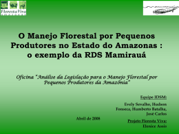 O Manejo Florestal por Pequenos Produtores no Estado do