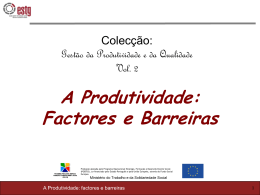 Os factores determinantes da produtividade