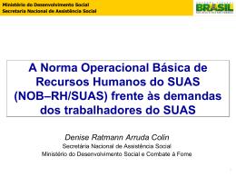 NOB–RH/SUAS - MINISTÉRIO DO Desenvolvimento Social e