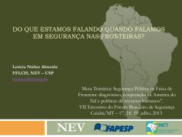 O Brasil e suas Fronteiras - Fórum Brasileiro de Segurança Pública