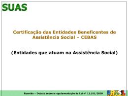 Certificação das Entidades Beneficentes de Assistência Social