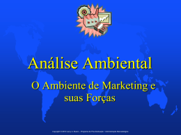 Análise Ambiental • O Ambiente de Marketing e suas