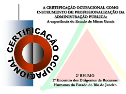 ETAPAS DO PROCESSO DE CERTIFICAÇÃO OCUPACIONAL