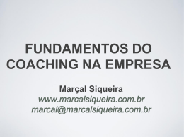 FUNDAMENTOS DO COACHING NA EMPRESA Marçal