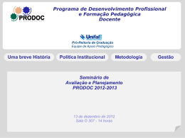 "Consulta ""online"" a comunidade docente - Unifal-MG"
