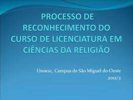 Reconhecimento Ciências da Religião 2012