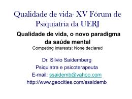 Qualidade de vida- XV Fórum de Psiquiatria da UFRJ