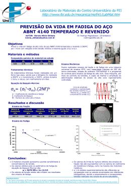 Previsão da vida em fadiga do aço ABNT 4140 temperado e revenido