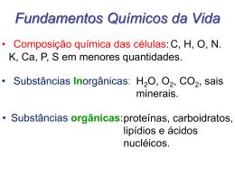 Fundamentos Químicos da vida (Água e Sais Minerais)