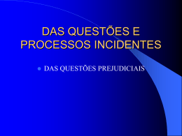 DAS QUESTÕES E PROCESSOS INCIDENTES