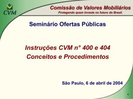 Inst. 400 PROTEÇÃO AO INVESTIDOR