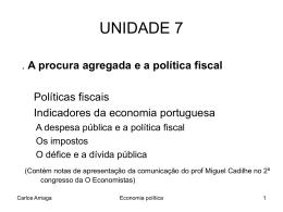 unidade 7 : a procura agregada e as políticas fiscais