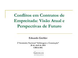 Conflitos em Contratos de Empreitada Visão Atual e - Crea