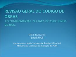 Apresentação - Código de Obras por Nádia Lorenzoni e
