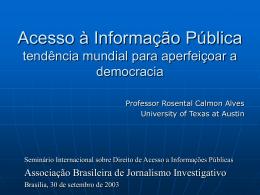 Acesso a Informacao Publica Tendencia mundial para o