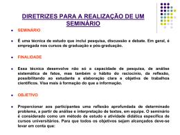 ORIENTAÇAO PARA A REALIZAÇÃO DE UM SEMINÁRIO