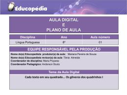 Atividade e plano de aula pronto L.Portuguesa 8 ° ano
