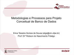 Metodologias e Processos para Projeto Conceitual de Banco de