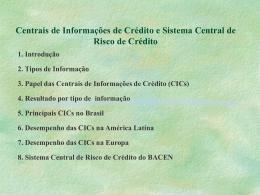 Centrais de Informações de Crédito e Sistema Central de Risco de