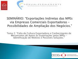 Falta de Cultura Exportadora pelas MPEs