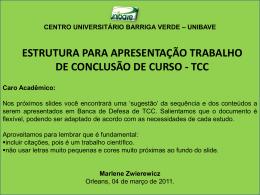 Sugestao de apresentacao TCC 2011
