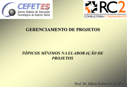 10 - Tópicos mínimos na elaboração de Projetos