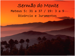 Sermão do Monte – Divorcio e Juramento