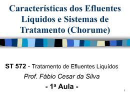 Características dos Efluentes Líquidos e Sistemas de Tratamento