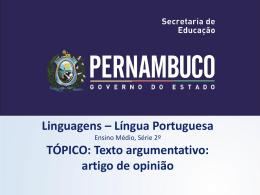 Texto argumentativo - Governo do Estado de Pernambuco