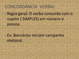 CONCORDÂNCIA VERBAL - Colégio O Bom Pastor