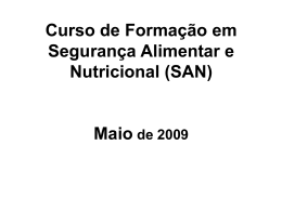 Curso de Formação em Segurança Alimentar e Nutricional (SAN)