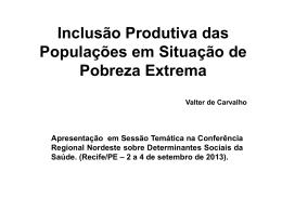 Inclusão Produtiva das Populações em Situação de