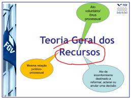 Teoria geral dos recursos - Acadêmico de Direito da FGV