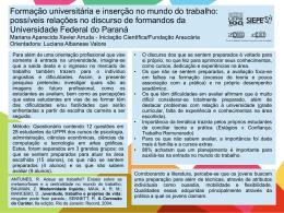 Formação universitária e inserção no mundo do trabalho