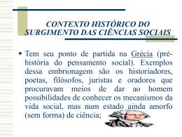 contexto histórico do surgimento das ciências sociais