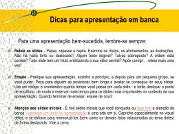 Apresentação para a Banca