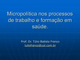 Fluxograma descritor do processo de trabalho Prof. Dr. Túlio Batista