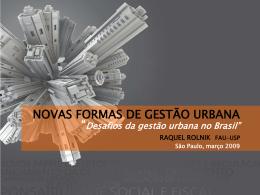 DESAFIOS DA GESTÃO URBANA NO BRASIL