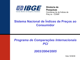 Sistema nacional INPC: programa de comparações internacionais
