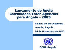 Donors´ Meeting 2002 Appeal for Angola