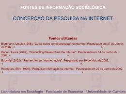 CONCEPÇÃO DA PESQUISA NA INTERNET