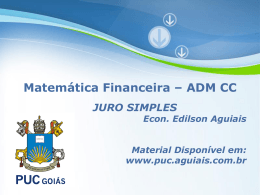 Matemática Financeira – 2015.2 – 03 – JUROS SIMPLES
