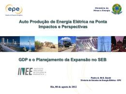 GDP e o Planejamento da Expansão no SEB