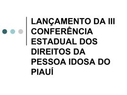Conferencia Estadual Pessoa Idosa - Ministério Público do Estado
