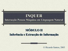 INQUER Interacção Pessoa-Máquina em Linguagem Natural