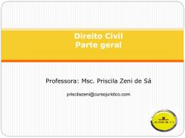 Direito do Consumo Professora: Msc. Priscila Zeni de Sá