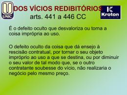 Dos Vícios redibitórios arts. 441 a 446 CC